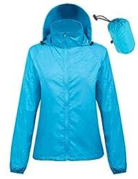 Kate Kasin Women's Lightweight Jacket UV Protect Quick Dry Outdoor Packable Rain Coat