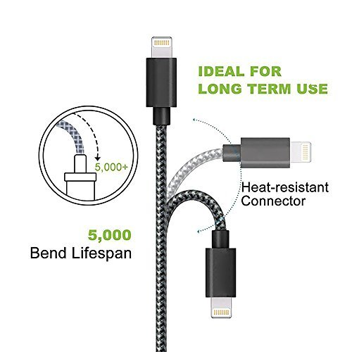 ONSON iPhone Cable,3Pack 6FT Nylon Braided