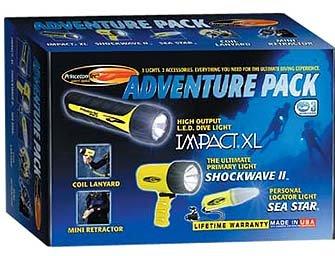 Princeton Tec Adventure Pack Scuba Dive, Snorkeling, Water Sports Light Set Diving Divers Night Lights Authorized Dealer Full Warranty, Blue ()