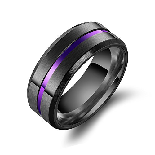 enhong 8mm Black Stainless Steel Matte Brushed Wedding Band Rings for Men Comfort fit Size (Purple Titanium Ring)