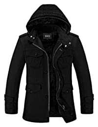 Nidicus Mens Classic Zipper Up Pea Coat with Removable Hood & Fleece Lining