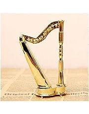 Small Golden Harp Model, Copper Mini Musical Instrument Tabletop Decorations, Creative Home Ornaments for Friends/Elders (Color : Copper)