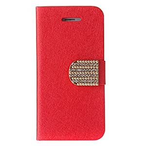 Silk Print Pattern Full Body Case with Stand and Diamond Button for iPhone 5/5S (Assorted Colors) , Red