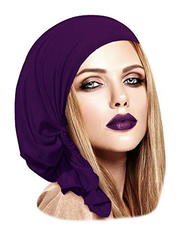 Pre-Tied Headscarf Tichel Headcover for Women Soft Cotton Cancer Chemo in 30 Colors! (Royal Purple Short - 137)