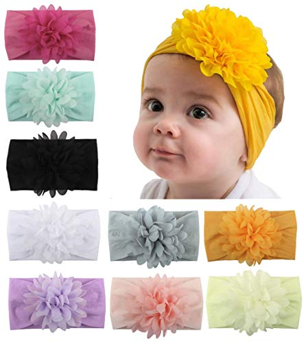 Baby Head Wrap Chiffon Flowers Toptim Newborn Infant Soft Nylon Headbands -