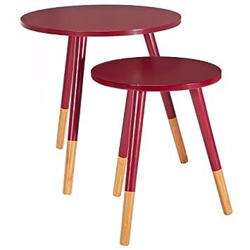LOMOS® No.13 Beistelltisch (2er-Set) in rot aus Holz im modernen ...