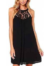 The Bazaar R Women Lace Floral Halter Neck Sleeveless Shirt Dress
