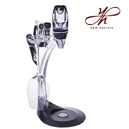 YouYah Deluxe Red Wine Accessories Set - Wine Aerator with Wine Aerator Pourer, Foil Cutter, Bottle Stopper, Cork Opener, Stand and Wine Glass Holder, Best Gift for Wine Lover