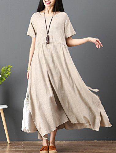 Dress Lin Robe t Kaki Coton lgant Mallimoda Femme Frenulum Vintage 6Iq8RR