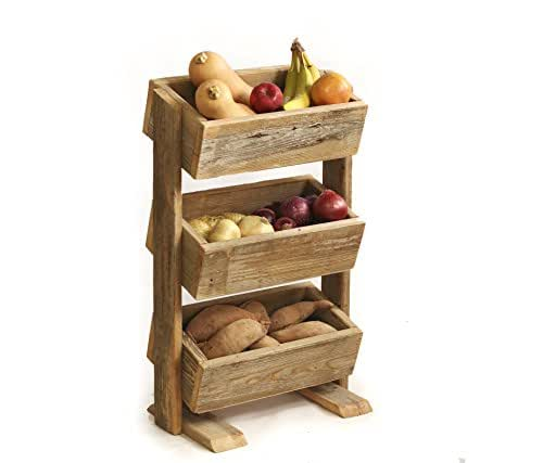 Kitchen Vegetable Storage Baskets: Amazon.com: Rustic Wood Potato Bin / Vegetable Bin: Handmade