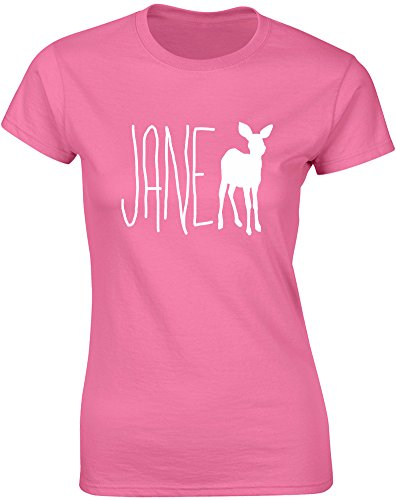Jane Doe, Ladies Printed T-Shirt - Azalea/White L = 6-8