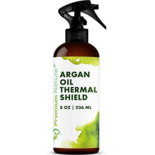 Argan Oil Hair Protector Spray - Thermal Heat Protectant For Styling Treatment Against Flat Iron & Hot Blow Dry - 100% Natural Prevents Damage Dryness Breakage & Split Ends Premium Nature 8 oz from Premium Nature