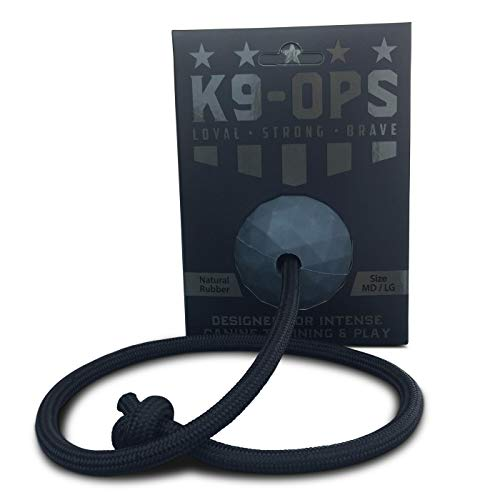 K9 Ops Moki Dog Ball on a Rope Tug Toy – Solid Rubber Fetch Training Reward – Large Dogs Tug of War Launcher…