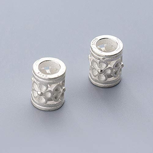 Calvas Classic Cylinder Flower Carved Spacer Beads 925 Sterling Silver Big Hole Tube Beads DIY Jewelry Making Findings Women Bracelets - (Color: Silver, Item Diameter: 10x7.5mm 1pcs) ()