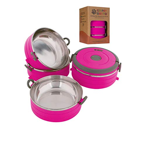 Healthy Human Portable Dog & Pet Travel Bowls with Lid - Human Grade Stainless Steel - Ideal for Food & Water - Pink - 4 Bowl Set (Best Super Bowl Box Numbers To Have)