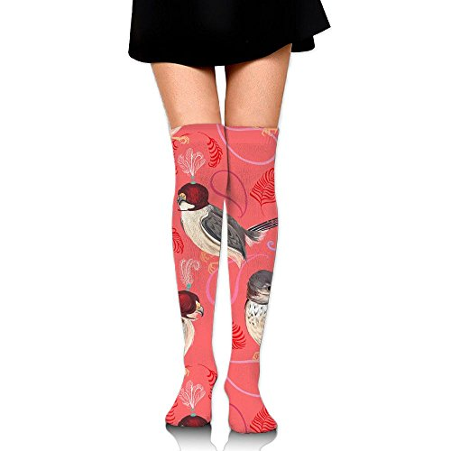 Beautiful Birds Ladies Tube Stockings Novelty Slim Stockings For Training Crew Socks