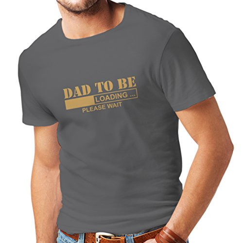 lepni.me T Shirts For Men Dad To Be - Loading New Dad Tshirt Funny Gifts For Dad 1 Dad, Baby Daddy Gifts (Medium Graphite Gold)