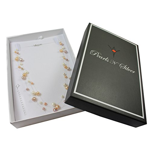 Pearls N Silver Bridal Sterling Silver Cultured Pearl Illusion Necklace Earrings 16'' 18'' inch 3 or 6 strands (Pastels 3 strands 18'' - 20'') by Pearls N Silver (Image #1)