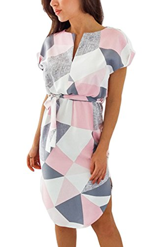 ECOWISH Womens Dresses Summer Casual V-Neck Floral Print Geometric Pattern Belted Dress Pink XL