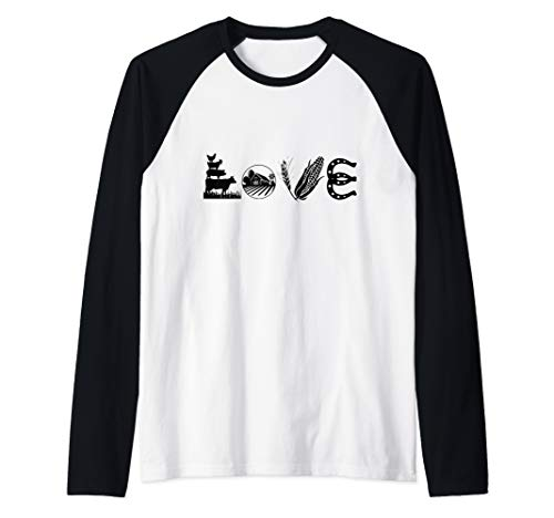 Sleeve T-shirt Horseshoes - LOVE Farm Farming Farmer Agriculture Soft  Raglan Baseball Tee
