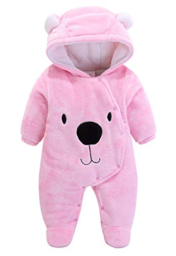 Infant Cotton Animal Rompers Button Winter Jumpsuit Unisex Thick Hooded Pajamas Warm Pattern Snowsuit Cute Flannel Footie Bodysuit Pink Bear 12 Months ()