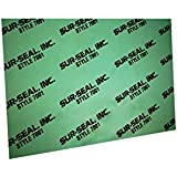 "Sur-Seal GS700101530X30 Green Aramid Fibers/NBR 7001 Non-Asbestos Compressed Sheet, 30"" Length, 30"" Width, 0.015"" Thick"