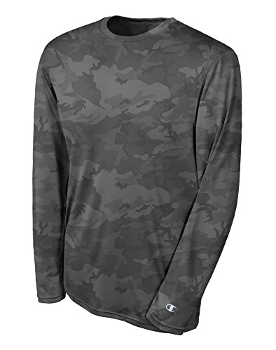 Champion Double Dry Long Sleeve Tee: Stone Grey Camo, L
