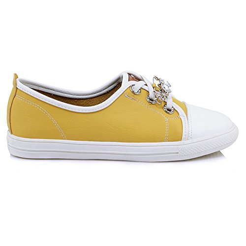 Taoffen Womens Lace Up Sneaker Chaussures Jaune