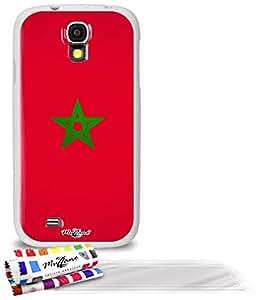 """Carcasa Flexible Ultra-Slim SAMSUNG I9500 / GALAXY S4 de exclusivo motivo [Bandera Marruecos] [Blanca] de MUZZANO  + 3 Pelliculas de Pantalla """"UltraClear"""" + ESTILETE y PAÑO MUZZANO REGALADOS - La Protección Antigolpes ULTIMA, ELEGANTE Y DURADERA para su SAMSUNG I9500 / GALAXY S4"""