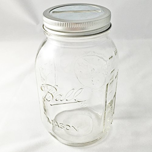 1 Mason Jar with Slotted Lid Insert Regular Mouth Quart 32oz Piggy Bank for All Ages (Mickeys Halloween Party Tickets)