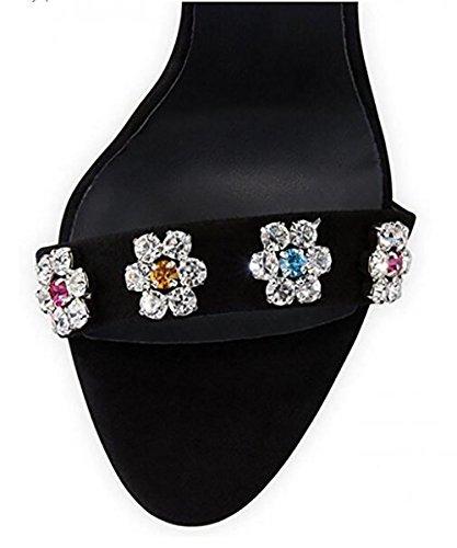 cristallo Nero Handmade Donna Retro 40 Sandali Pelle di 41 Pompa artificiale BLACK qCITwwaf