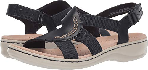 CLARKS Women's Leisa Joy Sandal, Navy Leather/Textile Combo, 110 W US