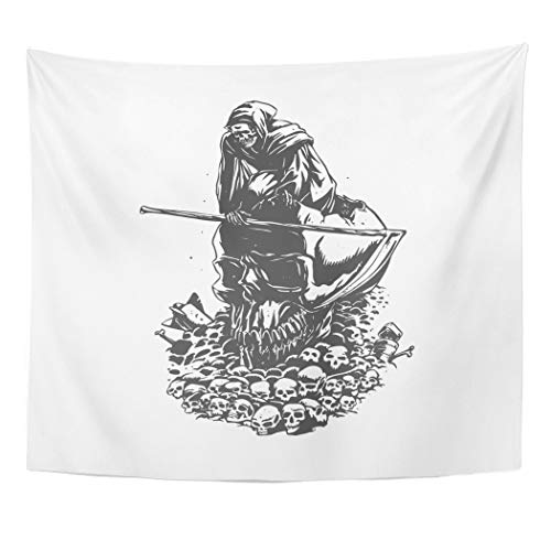 Semtomn Tapestry Wall Hanging Apocalyptic Apocalypse Grim Reaper Black and White Armageddon Bones 50