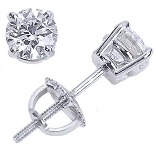 [1/5cttw Diamond Stud Earrings Round 4 Prong Set Screw Back 3mm] (3mm Round 4 Prong)