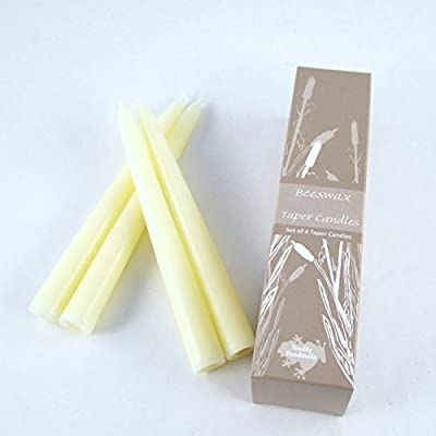 "Set of Four 8"" Tall Solid Ivory Beeswax Taper Candles-Comes Packaged in an Attractive Gift Box-Each Candle Measures Approx. 8"" Tall and 7/8"" Wide and Will Burn For Approx. 8 Hours - Made in the USA"