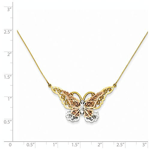 ICE CARATS 14k Yellow Rose Gold Butterfly Chain Necklace Animals/insect Fine Jewelry Gift For Women Heart by ICE CARATS (Image #5)