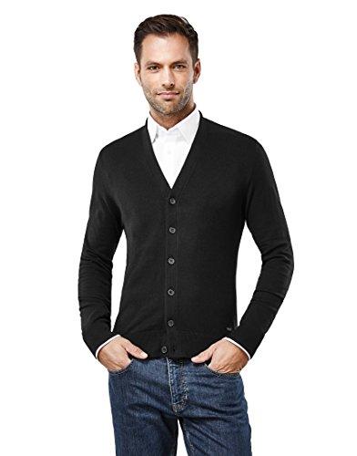 Vincenzo Boretti Men's classic cardigan with V-neckline and button p,black,Large