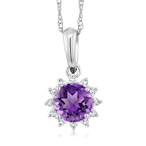 18k White Gold Amethyst Pendant (18K White Gold 0.45 Ct Round Purple Amethyst Diamond Pendant With Chain)