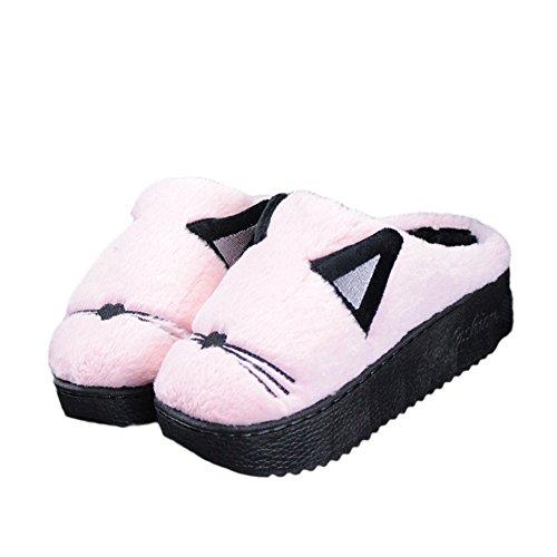 Cybling Winter Women Warm Indoor Shoes Cute Cartoon Morbido Pantofola Peluche Spessa Suola Rosa