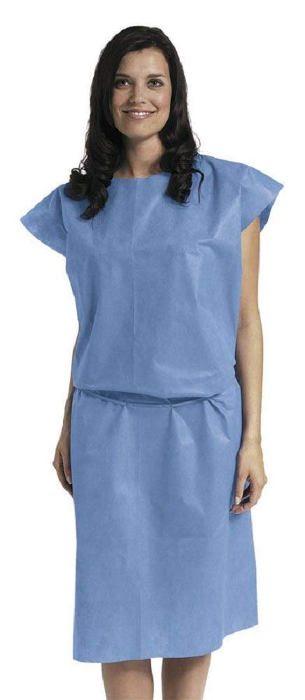 APQ Pack of 100 Disposable Patient Gowns, Multi Layer, Regular Size. Sleeveless Style. Patient Care Non Sterile Latex Free Clinics, Surgery, Lab Procedures. Single Use Multifunctinal Usage. Wholesale