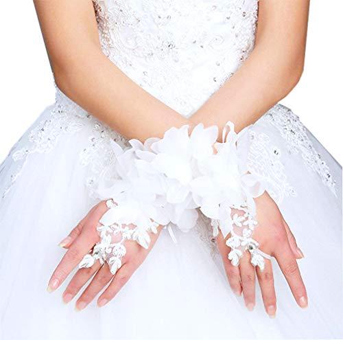 YunKo Women Short White Flower Lace Gloves Fingerless Gloves Prom Party Wedding