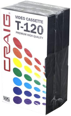 Craig CC358 Premium Blank T-120 VHS Video Tapes | 3-Pack | Video Casette Tapes | Recordable and Reusable | 120-Minute Recording Time | 6-Hour Total Time|