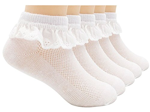 (Sept.Filles Socks Girl's Socks Lace Top Anklet Socks Packs of 5 (M(3-6y), White4))