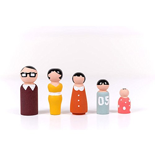 Ocvas US Warehouse - 5Pcs Natural Wooden Peg Dolls People Peg Dolls Wooden Family DIY Crafts Cake Topper Kid's Printed Decoration