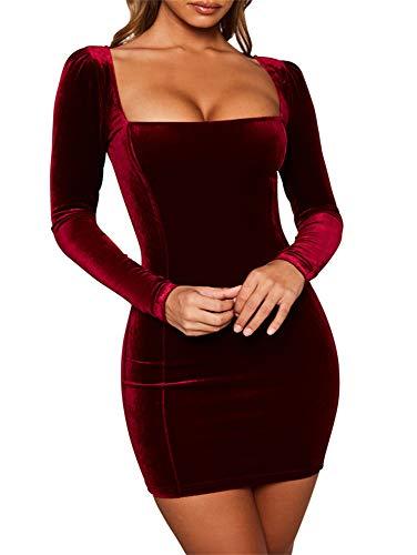 (GOBLES Womens Sexy Velvet Long Sleeve Bodycon Elegant Mini Party Dress Wine Red)