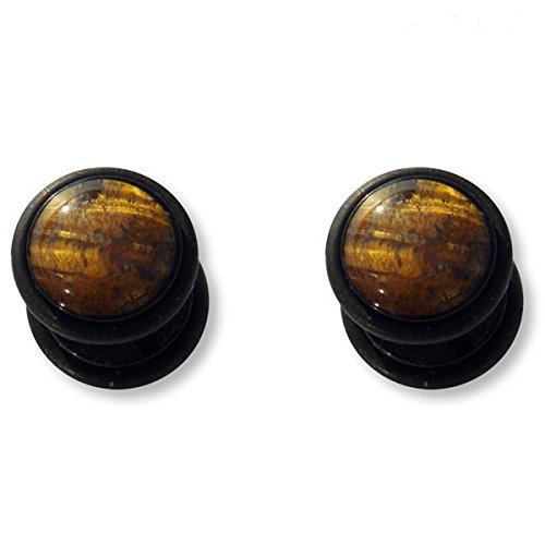 2 x Tigre Tigerglas Tiger Eye Auge Tiger Gemstone Fake Plug Fakeplug Fakeplugs Boucles d'oreilles Barre grosseur 1,2mm