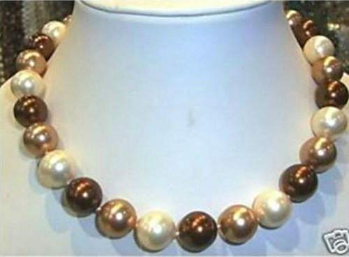FidgetKute Rare Huge Genuine Mix Colors South Sea Shell Pearl Necklace 18