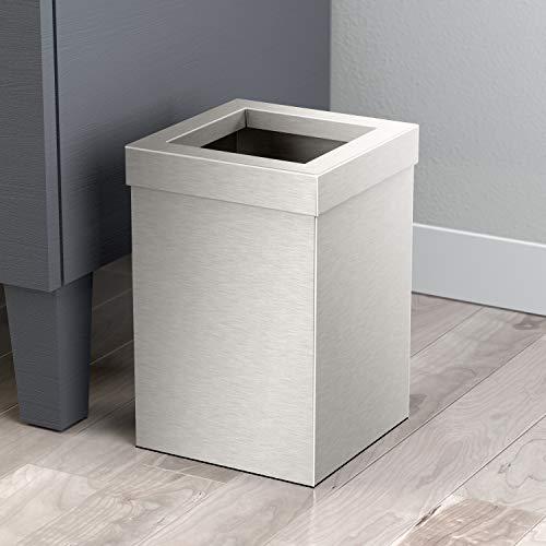 (Gatco 1914 Modern Waste Basket Bathroom, Kitchen, Office Trash Bin, Square, Satin)
