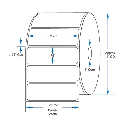 800522-075 Compatible KENCO Brand 2.25 inch x .75 inch with perf Direct Thermal Labels to fit Eltron or Zebra Printers. 1 in. Core, 1,780 Labels Per Roll, 12 Rolls Per Case by Kenco