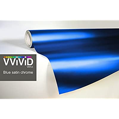 VViViD Blue Satin Chrome Vinyl Wrap Stretch Conform DIY Easy to Use Air-Release Adhesive (1ft x 5ft): Automotive